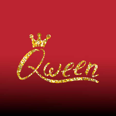 Illustration for Modern gold brush inscription Queen with crown isolated on red background - Royalty Free Image