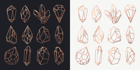 Illustration for Set of isolated stones outline or rock contour, golden hollow shape of crystals or polygonal diamond, gemstone cutout or structure. Game icon and jewel. Geology and wealth, luxury and mining theme - Royalty Free Image