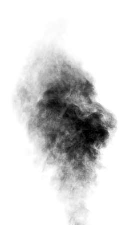 Foto de Black steam looking like smoke isolated on white background. Big cloud of black smoke. - Imagen libre de derechos