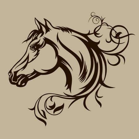 Illustration pour Black horse silhouette - image libre de droit