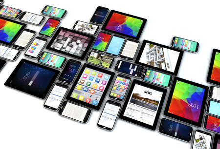 Photo for digital communication technology business concept: collection of tablet and smartphones with colorful interfaces isolated on white background - Royalty Free Image