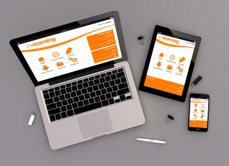 Foto de 3d render of e-learning platform responsive devices with laptop computer, tablet pc and touchscreen smartphone. Zenith view. All screen graphics are made up. - Imagen libre de derechos