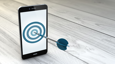 Photo pour digital generated Mobile marketing and targeting. Smartphone with dartboard in the screen. - image libre de droit