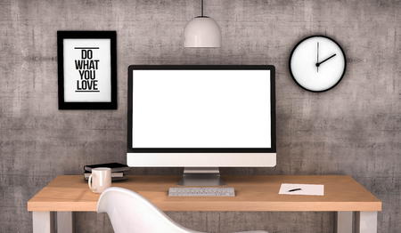 Photo for digital generated workspace desktop with blank screen computer. - Royalty Free Image