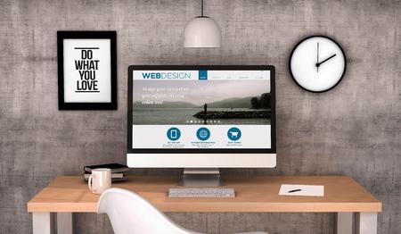 Foto de digital generated workspace desktop with web design website on screen computer. All screen graphics are made up. 3D generated. - Imagen libre de derechos