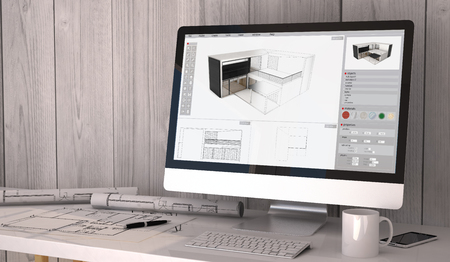 Foto de Digital generated architect workplace with plots and computer with architecture software on screen. - Imagen libre de derechos