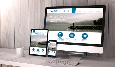 Photo pour Digital generated devices on desktop, responsive blank mock-up with web design fluid template website  on screen. All screen graphics are made up. - image libre de droit