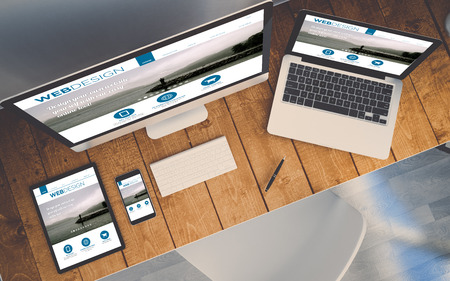 Foto de top view of a computer, laptop, smartphone and tablet on a desktop workspace. Order online responsive website on screen. 3d Illustration. All screen graphics are made up. - Imagen libre de derechos