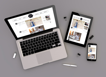 Foto de 3d illustration of fashion blog responsive devices with laptop computer, tablet pc and touchscreen smartphone. Zenith view. All screen graphics are made up. - Imagen libre de derechos