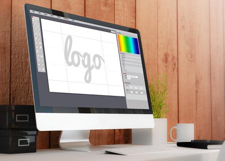 Foto de modern wooden workspace with computer showing graphic design software. All screen graphics are made up. 3D illustration. - Imagen libre de derechos