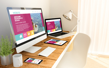 Foto de Digital generated devices over a wooden table with website responsive concept. All screen graphics are made up. 3d rendering. - Imagen libre de derechos