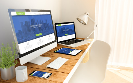 Foto de Digital generated devices over a wooden table with fresh and modern responsive design website. 3d rendering. All screen graphics are made up. - Imagen libre de derechos