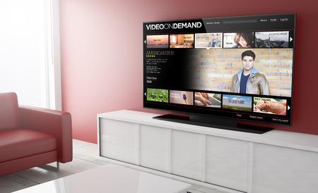 Foto de video on demandon smart tv on a living room. 3d Rendering. - Imagen libre de derechos
