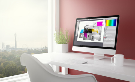 Foto de red studio with graphic design computer with london skyline in the background. 3d rendering. - Imagen libre de derechos