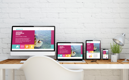 Photo pour multidevice desktop with fresh design website on screens. 3d rendering. - image libre de droit
