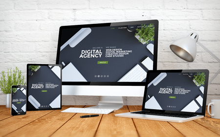 Foto per 3d rendering with multidevices with cool responsive digital agency website - Immagine Royalty Free