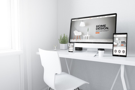 Photo for 3d rendering of devices on desktop. interior design website home on screens. - Royalty Free Image