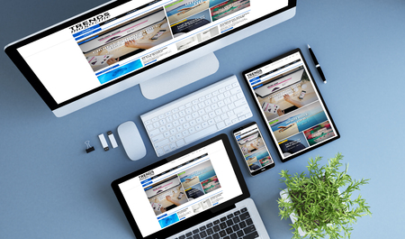 Photo for blue devices top view trends magazine3d rendering.  - Royalty Free Image