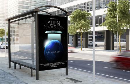 Foto de bus stop movie poster billboard on the street 3d rendering - Imagen libre de derechos