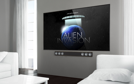 Photo pour Big screen smart tv at living room with sci-fi movie on screen. 3d rendering. - image libre de droit
