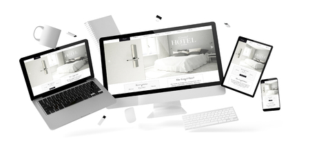 Photo pour office stuff and devices floating withgrand hotel website 3d rendering - image libre de droit