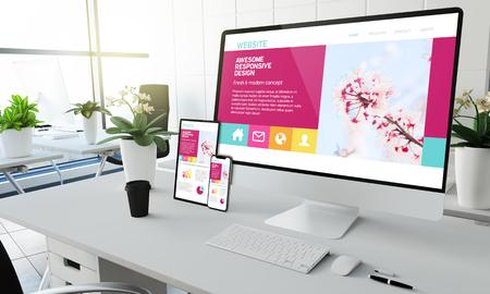 Foto de awesome responsive website screen devices mockup at coworking office 3d rendering - Imagen libre de derechos