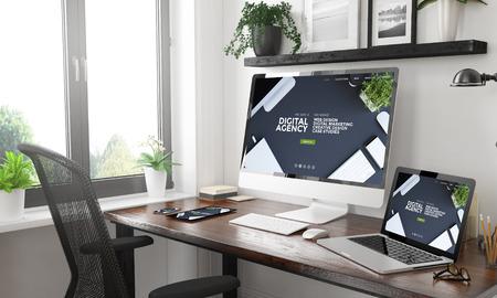 Foto de black and white home office with responsive digital agency website3d rendering - Imagen libre de derechos