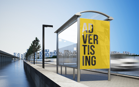 Photo pour Billboard advertising poster on bus stop 3d rendering mockup - image libre de droit