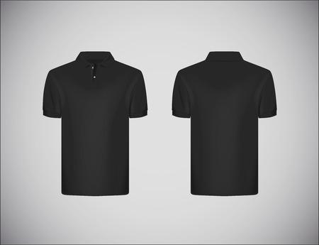 Illustration pour Men's slim-fitting short sleeve polo shirt. Black polo shirt mock-up design template for branding. - image libre de droit
