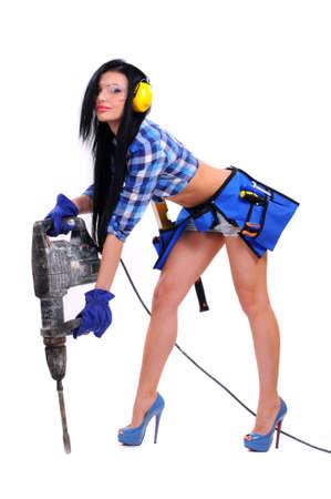 Foto de sexy young woman construction worker - Imagen libre de derechos