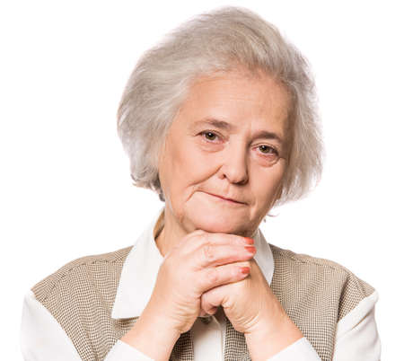 Foto de Portrait of senior woman isolated on white background - Imagen libre de derechos