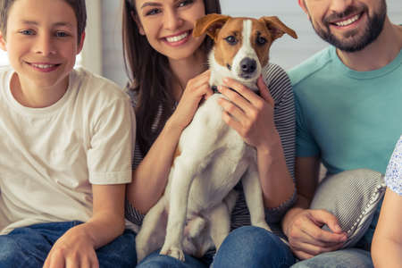 Cropped image of beautiful young parents and their son looking at camera and smiling, sitting with their cute dog on sofa at home