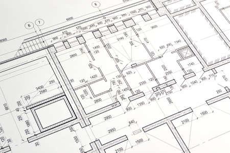 Photo pour Floor plan designed building on the drawing - image libre de droit