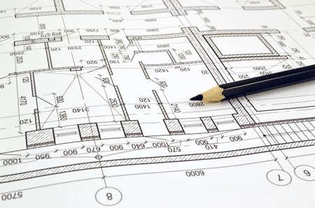 Foto de Floor plan designed building on the drawing - Imagen libre de derechos