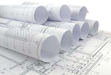 Photo pour Image of several drawings for the project engineer jobs - image libre de droit