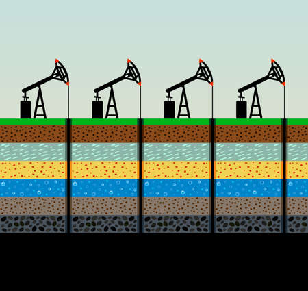 Ilustración de Oil pumps and rig illustration. - Imagen libre de derechos