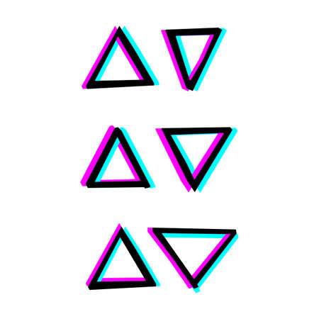 Illustration pour Hand painted decorative geometry shapes. Simple illustration with 3d stereoscopic effect - image libre de droit