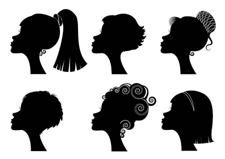 Silhouettes women heads
