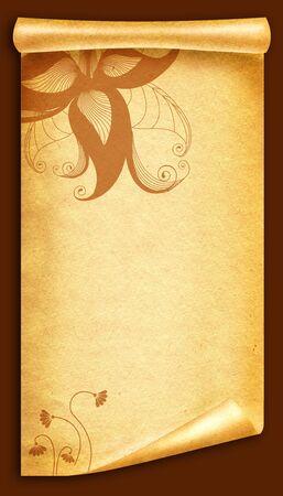 Floral vintagel background.Old paper scroll