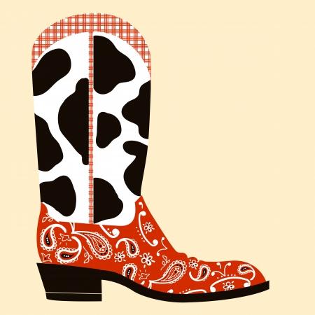 Ilustración de Cowboy boot decoration.Western symbol of shoe isolated  - Imagen libre de derechos