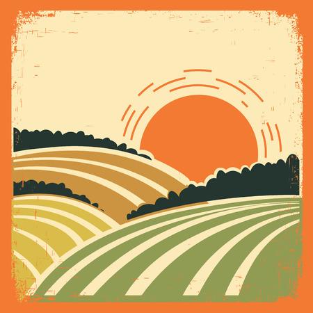 Illustration pour vintage landscape with fields on old papertexture.Vector color poster - image libre de droit