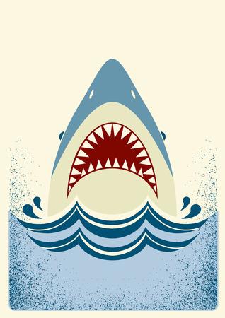 Ilustración de Shark jaws.Vector color background illustration for text - Imagen libre de derechos