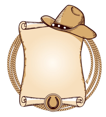 Illustration pour Cowboy hat and lasso.Vector American background for text - image libre de droit
