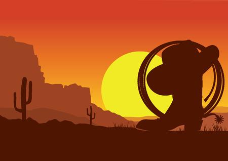 Ilustración de American wild west desert with cowboy boots and lasso.Vector sunset landscape - Imagen libre de derechos