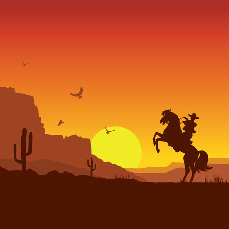 Illustrazione per American wild west desert with cowboy on horse.Vector sunset landscape - Immagini Royalty Free