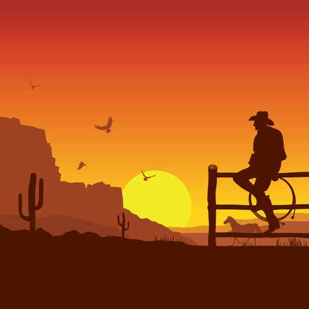 Illustrazione per American Cowboy on wild west sunset landscape in the evening.Vector illustration - Immagini Royalty Free