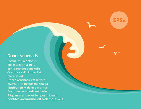 Illustration for Big blue wave.Vector seascape illustration for design or text - Royalty Free Image