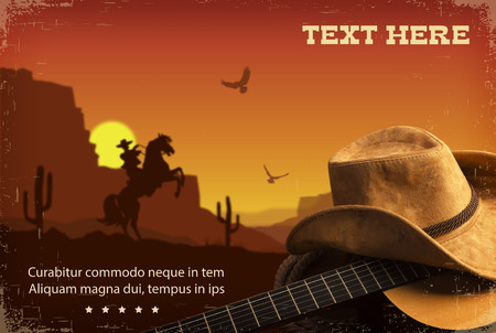 Photo pour Country music collage with guitar and cowboy hat . American Western landscape background - image libre de droit
