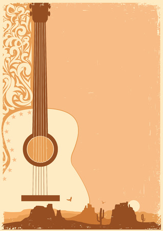 Illustration pour Country music poster with guitar on old paper texture for text - image libre de droit