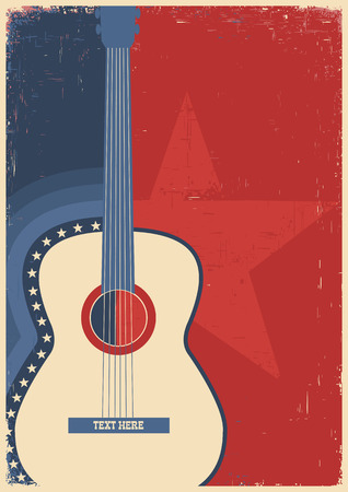 Illustration pour Country music poster with guitar on old paper texture - image libre de droit